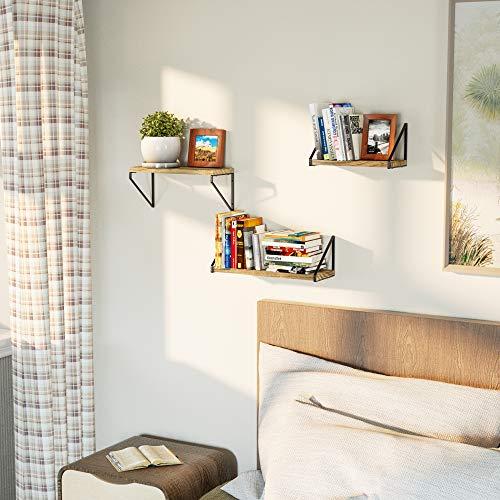 Love-KANKEI Floating Shelves Rustic Shelves Wall Mounted Set of 3 Wall Storage Shelves for Living Room, Bedroom, Kitchen Carbonized Black