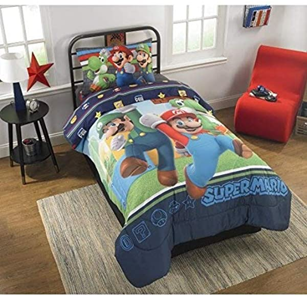 Super Mario Bros Twin Comforter Sheet Set 4 Piece Bed In A Bag