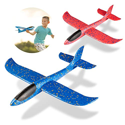 MOOKLIN ROAM 2 Pièces Avion Planeurs Enfant Jouet, 44cm Avion de Lancer Manuel Planeurs avec Deux Modèle, Grand Mousse Avion Voler Sports de Plein Air pour Enfants Garçons Filles (Bleu + Rouge)