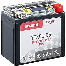 Accurat Batterie de moto YTX5L-BS 5 Ah 100 A 12V Technologie gel + Écran LCD Batterie de démarrage Performante Robuste…