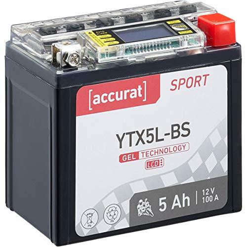 Accurat Motorradbatterie Sport YTX5L-BS 5 Ah 100 A 12V Gel Starterbatterie [LCD Display] Erstausrüsterqualität rüttelfest leistungsstark wartungsfrei