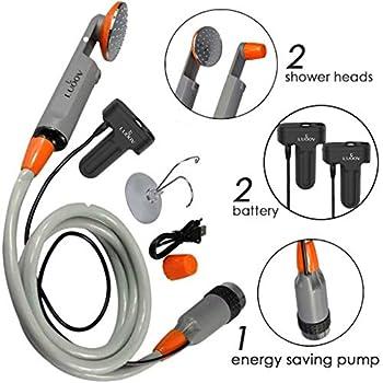 Douche de camping portable- Pulvérisateur d'eau portable - Deux batteries rechargeables de 2200 mAh - Pompe à eau pour le camping, la randonnée, les voyages en plein air,Camping Shower Two batteries
