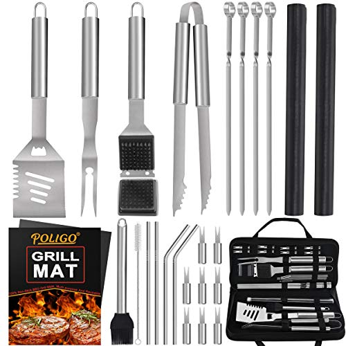 POLIGO 26PCS Outdoor Barbecue Grill Accessories Set Stainless Steel BBQ Grill Tools Kit for Christmas Birthday Presents - Premium Grill Utensils Set in Bag Ideal Camping Grilling Gifts for Dad Men