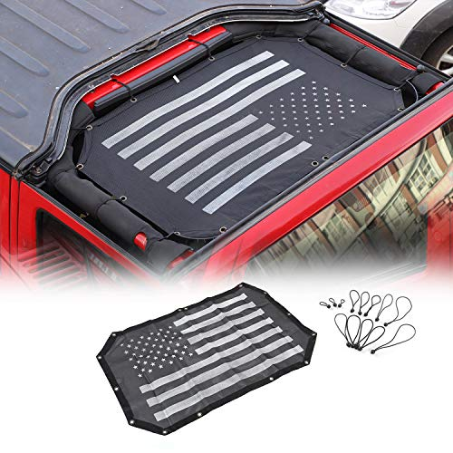 JeCar Mesh Sunshade 2 Door Durable Polyester Top Cover Provides UV Sun Protection for Jeep Wrangler JK & Unlimited 2007-2018 (Black and White American Flag)