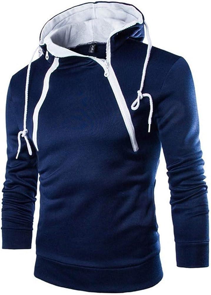 Clearance!! FORUU Men's Long Sleeve Plaid Hoodies Pullover Slim Fit Solid Comfy Soft Casual Fashion Lightweight Sweatshirt