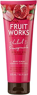 Fruit Works Rhubarb & Pomegranate Cruelty Free & Vegan Body Scrub With Natural Extracts 1x 225ml