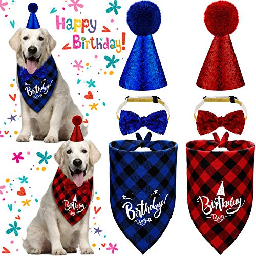 6 Pieces Christmas Dog Birthday Party Supplies Include 2 Pieces Dog Bandana, 2 Pieces Dog Hats, 2 Pieces Bow Tie Collars for Christmas Pet Costume Accessories Decoration, 2 Colors (Blue, Red,L)