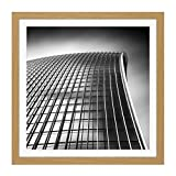 Warby Abstract Angle Walkie Talkie Building London Photo Square Wooden Framed Wall Art Print Picture 16X16 Inch Guerra Resumen Londres Fotografía Madera Pared Imagen