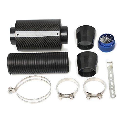 Kit de Filtro de Admision de Aire Frio de Fibra de Carbono con Tubo de Alimentación de Aire Universal 3 pulgadas para Coche Automovil