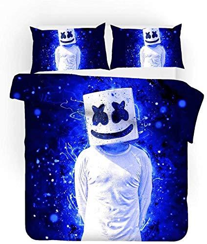 ZJJIAM Juego de cama infantil, impresión digital 3D Mr. DJ Marshmallow, funda nórdica y funda de almohada de 100% microfibra, cama doble (MH-7, 140 cm x 210 cm)