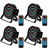 Baisun Uplighting 18 LED Stage Lights RGB Dj Lights With DMX Remote Control For Wedding Christmas Festival Birthday Party (4 pack)