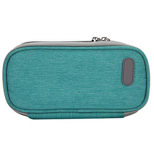 CHICIRIS Medizingekühlte Tasche, grün, schwarz, grau, schwarz, unten, rot, blühend, wasserdicht, robuster Insulinbeutel, mehrschichtig mit Reißverschluss für Reisen(Green)