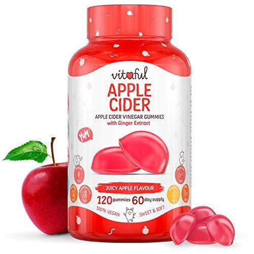 VITAFUL Apple Cider - Supporta la digestione, la depurazione, la perdita di peso e l'aumento di energia - Aceto di sidro di mele & estratto di zenzero - 120 gommose sufficienti per 2 mesi