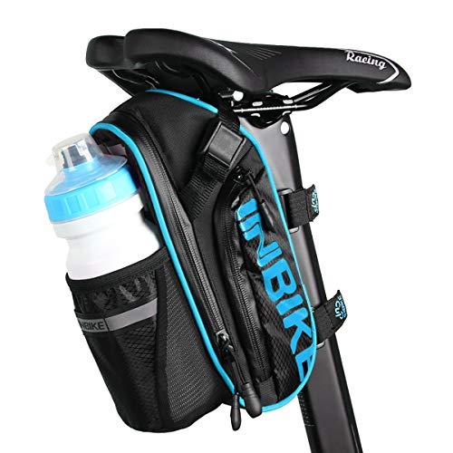 Bolsas para Sillines de Bicicletas, Accesorios de Bicicleta de Montaña Bolsa de Poliéster, Bolsillo para Botella de Bicicleta de 1.2L y Material Especial Reflectante para Bicicletas Bolsa (Azul)