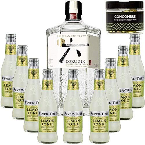 Paquete Gintonic - Gin Roku + 9 Fever siciliano Lemon Tree Agua - (70cl + 9 20cl *) + Pot 50 rodajas de pepino secó