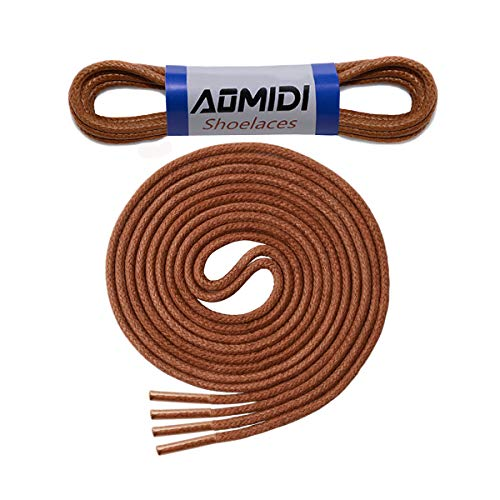 Waxed Round Shoelaces (2 Pairs) - for Oxford Dress Shoes Boots Leather Shoe Laces (32' inches (81 cm), Light Brown)