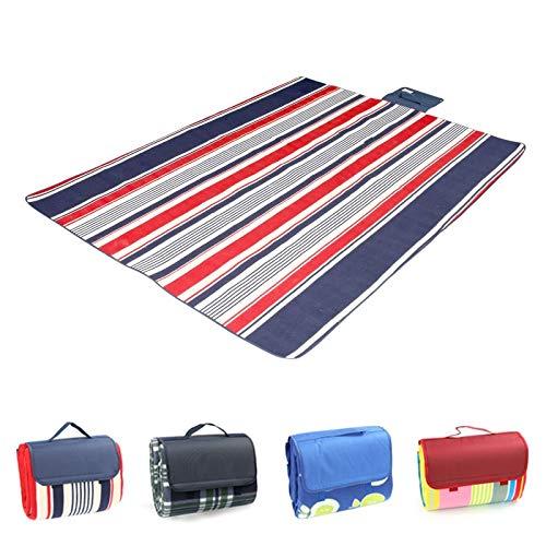 Picknickdecke Zusammenklappbare Campingmatte Outdoor Beach Picknick Wasserdicht Extra Schlaf Campingmatte Matte Feuchtigkeitsbeständige Decke, Blaue und rote Streifen, 2mx2m