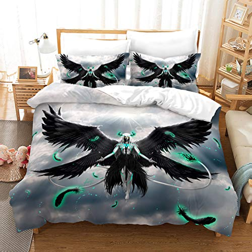 Jiaxiin Bleach - Arrancar Bleach Brave Souls Espada Hollow Ulquiorra Cifer Anime 3pcs Bedding Duvet Cover Sets Soft Quilt Cover with Zipper Cotton Pillowcase (EU-Single)