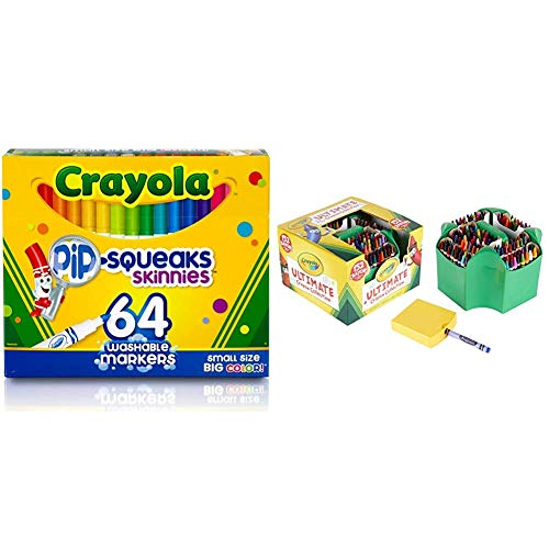 Crayola Pip-Squeaks Skinnies Washable Markers, 64 count & Ultimate Crayon Collection Coloring Set, Kids Indoor Activities At Home, Gift Age 3 plus - 152 Count