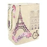 Wetia Cestas de lavandería Organizadores de Almacenamiento Cesto Plegable Bicicleta Vintage Paris Torre Eiffel Cesto de Ropa Impermeable para baño, Dormitorio, hogar, Hotel 60L