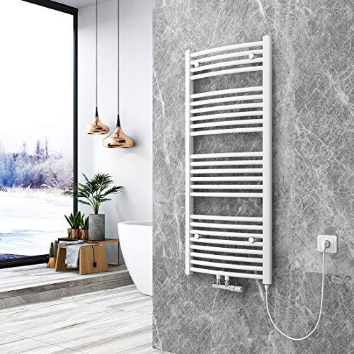 Handtuchtrockner Heizkörper, 120x50 cm Handtuchheizkörper für Wasser und Strom mit Kabel und Stecker(Weiß)