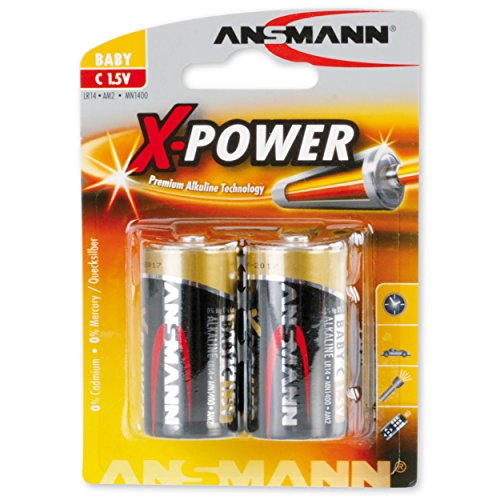 Ansmann X-Power Alkaline Batterie Baby C LR14 Longlife Alkalibatterie für extrem hohen Strombedarf (2er Pack), Schwarz, 2 Stück