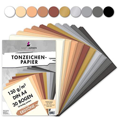 MarpaJansen - Papel de dibujo (10 colores, DIN A4, 30 hojas, 130 g/m², certificado Blauer Engel 🔥