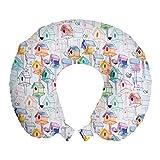 ABAKUHAUS nichoir Oreiller Cervical de Voyage, Nids coloré Croquis, Accessoire en Mousse à Mémoire pour Voyage, 30 cm x 30 cm, Pale Mauve Multicolor