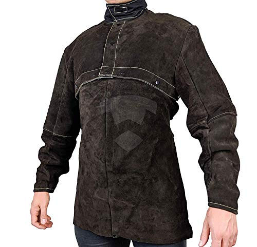 "Waylander Welding Cape Sleeves Jacket Cowhide with detachable 20"" Bib Kevlar Stitched - XX-LARGE"