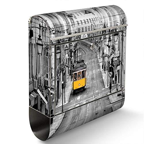 BANJADO Edelstahl Briefkasten mit Zeitungsfach, Design Motivbriefkasten, Briefkasten 38x43,5x12,5cm groß Motiv Lissabon