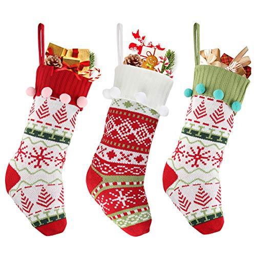 N/S Gestrickter Weihnachtsstrumpf-3er Set, Nikolausstiefel zum Befüllen, Hängende Strümpfe auf Kamin, für Weihnachtsschmuck Weihnachtsbaum Deko, Geschenke Taschen und Süßigkeiten Taschen (B)