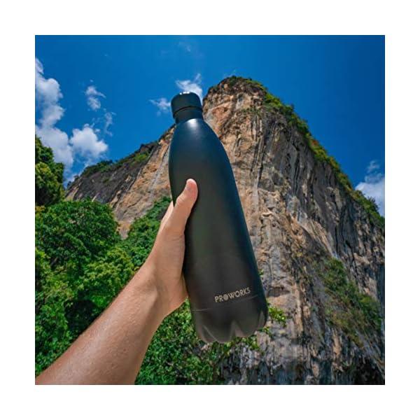 514KYFEOFSL. SS600  - Proworks Botella de Agua Deportiva de Acero Inoxidable | Cantimplora Termo con Doble Aislamiento para 12 Horas de Bebida…