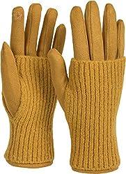 styleBREAKER Damen Touchscreen Stoff Handschuhe mit abnehmbaren Strick Stulpen, warme Fingerhandschuhe, Winter 09010022, Farbe:Curry