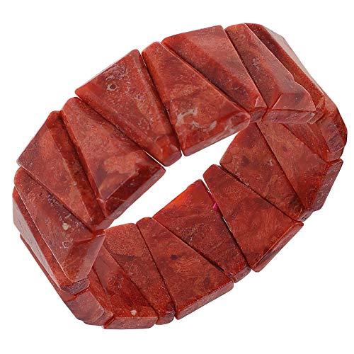 LetsBuyGold - Braccialetto elastico da donna in schiuma di corallo, lunghezza 19 cm, colore: Rosso