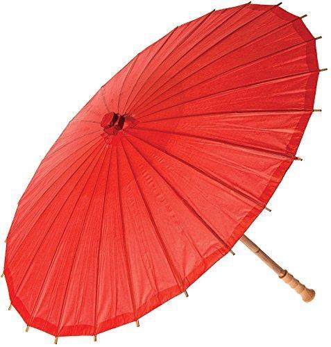 fendii Chinesische japanischen Stil, Bambus Klapptisch dia Oriental Regenschirm Sonnenschirm rot
