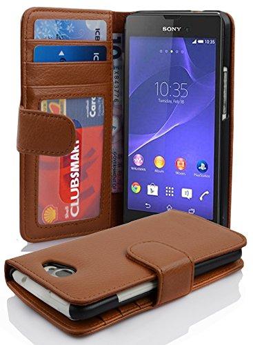 Cadorabo Hülle für Sony Xperia M2 / M2 Aqua in Cognac BRAUN – Handyhülle mit Magnetverschluss & 3 Kartenfächern – Hülle Cover Schutzhülle Etui Tasche Book Klapp Style