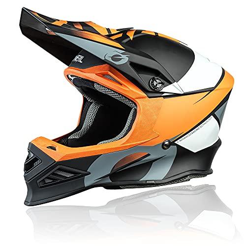 O'NEAL | Casco de Motocross | MX Enduro Motocicleta | Airflaps™ Compatible, Forro Acolchado Coolmax, Cierre de Seguridad Doble-D | F-SRS Helmet Glitch | Adultos | Naranja Negra | Talla S