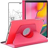 ebestStar - kompatibel mit Samsung Galaxy Tab A 10.1 Hülle 2019 T515 Rotierend Schutzhülle Etui, Schutz Hülle Ständer, Rotating Cover, Pink +Panzerglas Schutzfolie [Tab: 245x149x7.5mm 10.1