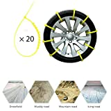 MACHSWON Universal Car Tire Chains Emergency Anti-Skid Mud Snow Security Traction Car Tyres Chains for Car Truck SUV Winter Driving,Tyres Width 145-295mm(20Pcs Yellow)