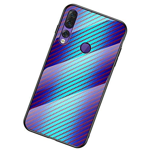 BINGRAN Lenovo Z5s Hülle, [Hyun Farbe] Kohlefaser Muster Gehärtetes Glas Rückendeckel + Weiche TPU Silikon Stoßstange Schutzhülle Hülle für Lenovo Z5s 6.3