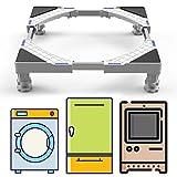 DEWEL Podeste & Rahmen für Waschmaschinen, Verstellbare Kühlschrank Sockel Untergestell für Trockner, Waschmaschine und Kühlschrank(44-69cm)