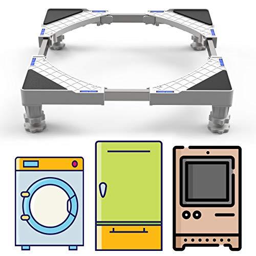 DEWEL Verstellbar Untergestell für Waschmaschine, 44-69cm Waschmaschinen Sockel für Waschmaschine, Kühlschrank, Trockner, Gefrierschrank, 4 Füße