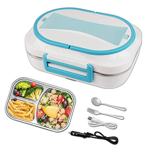 Electric Heated Lunch Box - 110V & 12V Portable Food Warmer for Home and Car with Removable 304 Stainless Steel Storage Container