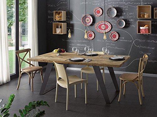 Table rectangulaire pour cuisine, séjour, en bois massif, anthracite, ciré, pieds en fer