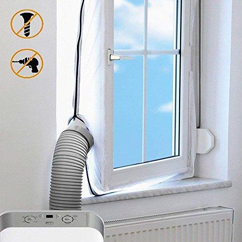 300CM/400CM/560CM Textil Fensterabdichtung, Klimaanlage Auslass Für Mobile Klimageräte und Abluft-Wäschetrockner, AirLock Für Fenster, Dachfenster, Kippfenster (400CM)