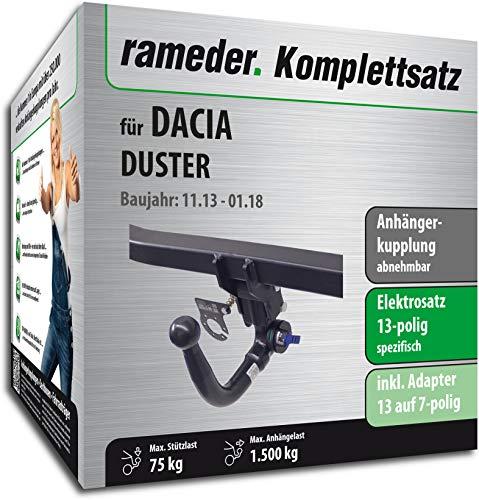 Rameder Komplettsatz, Anhängerkupplung abnehmbar + 13pol Elektrik für Dacia Duster (113439-08547-1)