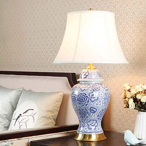 YANQING duurzame blauwe en witte keramische tafellamp woonkamer nachtlampje retro koper decoratie slaapkamer 40x70cm (paleis lampenkap) oplichten leven