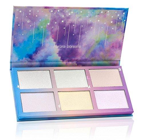 TZ Cosmetix - Aurora Borealis 6 Farben Highlighter/Glow Kit - Nasses weiches illuminating Creme Pulver Make-up Palette - mit Regenbogen-Stern Box tz-6fb