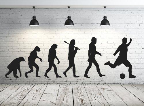 Wandtattoo 68165-58x18 cm, ~ Männer Evolution Affe, Fussball ~ fürs Kinderzimmer, Jungen Wandaufkleber Wandtatoos Sticker Aufkleber für die Wand, Fensterbild, Tapetensticker, Türaufkleber, Tattoo aus Markenfolie - aus 32 Farben wählen