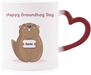 Happy Groundhog Day USA America Canada Festival Morphing Mug Heat Sensitive Red Heart Cup